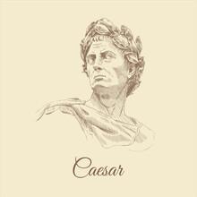 Sketch Portrait Of Caesar, Hand-drawn.