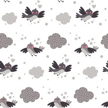Vector Cute Seamless Pattern With Flying Birds, Clouds In The Sky