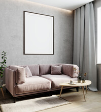 Blank Frame On Gray Wall, Vertical Poster Frame Mock Up In Light Modern Interior Background With Pink Sofa, Luxury Home Interior, 3d Rendering