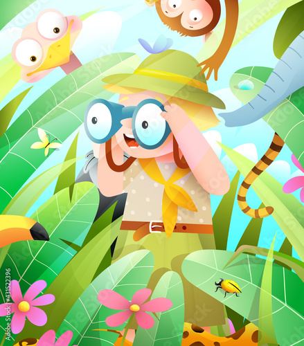 Fototapeta premium Jungle safari adventure with scout boy or girl looking into binocular seeking for hiding animals in the foliage. Kids hide and seek game with cute African wildlife. Vector in watercolor style.