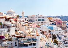 White Houses Of Thira Town, Santorini Island, Greece