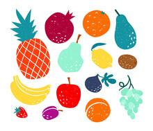 Cute Vector Set Of Hand Drawn Stylized Fresh Fruits