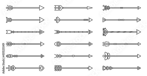 Photo Arrow line flat black set isolated on white with feather boho, aragon, tribal, old indian style