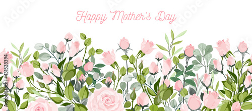 Fototapeta happy mother day, holiday pink flower on blue background. can be use for sale advertisement, backdrop. vector obraz