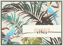 Vintage Tropical Design With Exotic Monstera And Royal Palm Leaves, Blue Macaws And Branches. Vector Illustration.