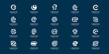 Collection Of Monogram Initial Letter E Set Premium. Premium Vector