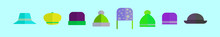 Set Of Bonnet And Hat Cartoon Icon Design Template With Various Models. Vector Illustration Isolated On Blue Background