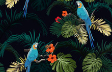 Dark Tropical Seamless Pattern With Exotic Monstera And Royal Palm Leaves, Hibiscus Flowers, Blue Macaws And Branches. Vector Illustration.