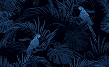 Dark Blue Monochrome Tropical Seamless Pattern With Exotic Monstera And Royal Palm Leaves, Blue Macaws And Branches. Vector Illustration.