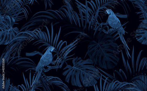 Dark blue monochrome tropical seamless pattern with exotic monstera and royal palm leaves, blue macaws and branches. Vector illustration. - fototapety na wymiar