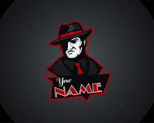 MAFIA LOGO Emblem With Abstract Character Silhouette Of The Head Of A  Man In A Hat . Vintage Vector Illustration