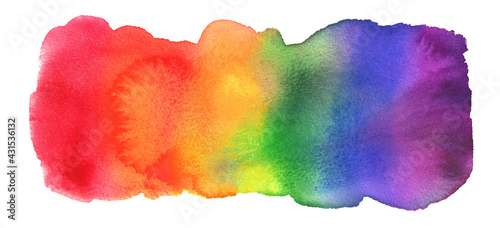 Stampa su Tela Watercolor Hand Painted Colorful Rainbow Set