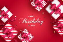 Happy Birthday Background With Several Gift Boxes With Ribbons