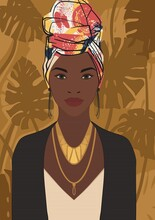Beautiful Young Black African Woman Wearing An African-style Turban Head Warp, Vector Illustration