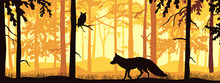 Horizontal Banner Of Forest Landscape. Fox And Owl In Magic Misty Forest. Silhouettes Of Trees And Animals. Orange And Yellow Background, Illustration. Bookmark.