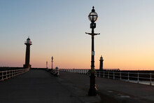 Sunrise On Pier In Whitby, Yorkshire, UK