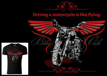 T-shirt Design For Bikers With Motorcycle And Decorative Wings And Texts - Colored Illustration Isolated On Black Background, Vector