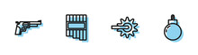 Set Line Spur, Revolver Gun, Pan Flute And Bomb Ready To Explode Icon. Vector