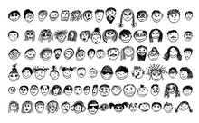 People's Faces Set. Drawing Line. Vector Illustration