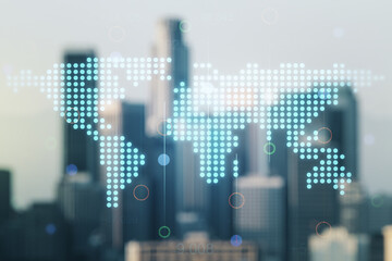 Double exposure of abstract digital world map hologram on blurry office buildings background, big data and blockchain concept
