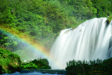 Marmore Waterfall Detail With Rainbow, Terni, Valnerina, Umbria, Italy