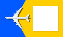 Travel Background Concept. Objective With Plane On Empty White Paper For Text. Picture For Add Text Message. Backdrop For Design Art Work.