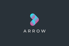Right Arrow Logo. Blue Purple Gradient Geometric Arrow Shape With Motion Origami Style. Usable For Business And Technology Logos. Flat Vector Logo Design Template Element.