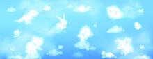 White Clouds Shape Cute Animals Blue Sky