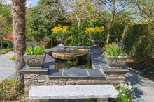 Stone Block And Slate Slab Designed Water Feature Set In The Garden