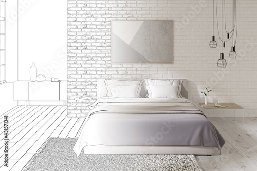 Fotografie, Obraz The sketch becomes a real bedroom with a horizontal poster on a brick wall, a double bed, a modern chandelier, dressing tables, a carpet on a wooden floor, a curbstone in the background