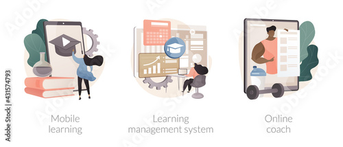 Fototapeta Learning management system abstract concept vector illustrations. obraz