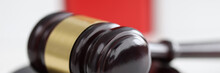 Wooden Gavel For Judge And Auctions Lies On Stand