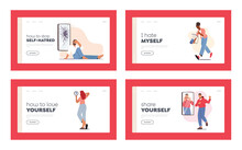 Self Anger, Loathing, Low Esteem Landing Page Template Set. Characters Look In Mirror Unhappy With Their Reflection