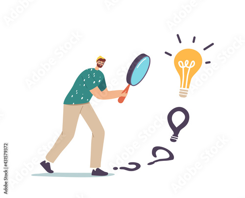 Fototapeta Male Character with Huge Magnifier in Hands Finding Answer Walking to Huge Light Bulb. Businessman Search Creative Idea obraz