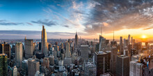 Manhattan Skyline Panorama At Sunset, New York City, USA