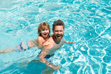 Dad And Son Swimming Lessons. Pool Party. Family Summer Weekeng. Fathers Day.