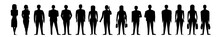 People Standing Silhouettes Isolated Set - Vector