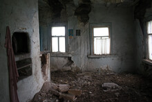 Room With Stove In An Abandoned Ukrainian Hut