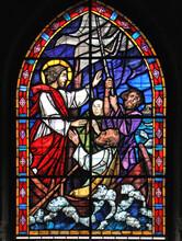 Cristo Ferma La Tempesta; Vetrata Della Chiesa Di San Cristoforo Sul Naviglio Grande, Milano