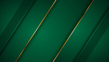 Realistic Paper Green Style Luxury With Golden Line On Dark 3d Abstract Presentation Background