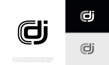 Disk Jockey Logo Design. Initial DJ Logo . Initial CDJ Logo. Creative Typography Treatment In Black And White