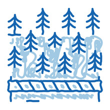 Overlapped Forest Doodle Icon Hand Drawn Illustration