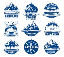 Kayaking, Rafting And Canoeing Sport Vector Icons With Kayak, Canoe And Raft Boats, Paddles, Mountain Lake And River, Teams Of Kayakers And Canoers. Extreme Sport Club, Tour And Camp Emblems Design