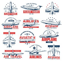 Aviation Airplane Vector Icons Of Air Travel Design. Passenger Airline Plane, Jet Airliner Or Jetliner Isolated Symbols Of Aircraft, International Flight, Airplane Tour And Air Transport Emblems