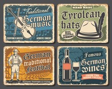 Germany Travel Landmarks And Culture Retro Posters, Vector Germany Tourism. Oktoberfest Traditional Beer Festival, National Costumes And Tyrolean Hats Shop, German Music And Wine, Metal Plates