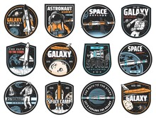 Space Vector Icons. Cosmonaut In Galaxy, Rocket In Outer Cosmos, Shuttle Expedition, Explore Or Adventure. Satellite In Space, Colonization Mission And Galaxy Exploration, Astronaut Academy Labels Set