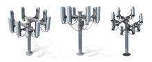 Mobile Telecommunication Tower Or Cell Tower With Antennae And Electronic Communications Equipments. Isolated White Background 3d Illustration Different Angle View Realistic Set