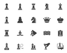 Chess Game Vector Icons Set