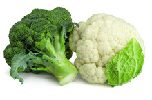 Fresh Wholesome Broccoli And Cauliflower Isolated On White Background. Ingredients Vegetables For Cooking.