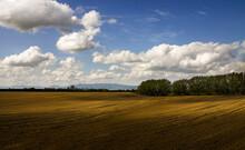 Freshly Ploughed Field In Rural Countryside